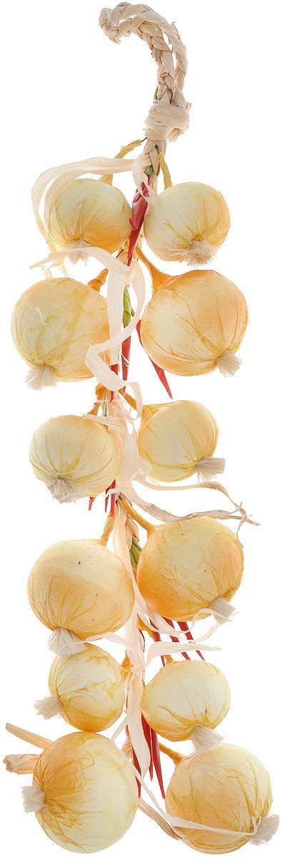 Муляж Лук с перцем в связке, цвет: желтый, бордовый, 60 смYO60Муляж Лук с перцем в связке изготовлен из полиуретана, окрашен в естественные цвета. Предназначен для украшения интерьера дома. Длина связки: 60 см.