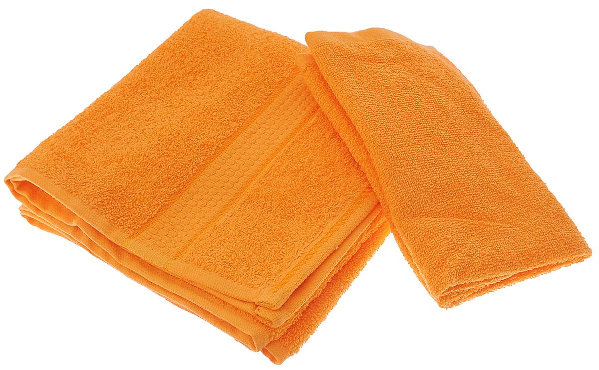 Набор махровых полотенец Aisha Home Textile, цвет: оранжевый, 2 штУзТ-КМП-09-27Набор Aisha Home Textile состоит из двух махровых полотенец разного размера. В состав входит только натуральное волокно - хлопок. Лаконичные бордюры подойдут для любого интерьера ванной комнаты. Полотенца прекрасно впитывают влагу и быстро сохнут. При соблюдении рекомендаций по уходу не линяют и не теряют форму даже после многократных стирок.