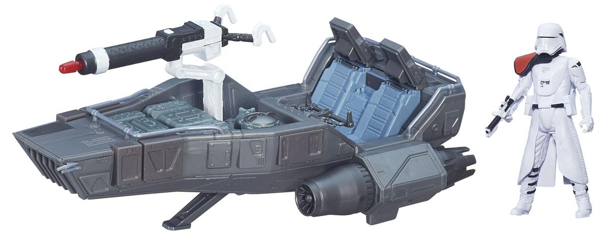 Star Wars The Force Awakens Космический корабль Класс 2B3672Игровой набор Star Wars Боевое транспортное средство. Класс 2 не оставит вашего ребенка равнодушным! Он включает в себя точный макет боевого корабля из фильма Звездные войны и фигурку Snowtrooper с оружием. Фигурка может разместиться на специальном сиденье в звездолете. Корабль оснащен мощным оружием, из которого можно стрелять световым лучом. Создай свой галактический флот Звездных войн с космическим кораблем среднего размера из нового эпизода саги. Ребенок сможет часами играть с этим набором, придумывая разные истории. Порадуйте его таким замечательным подарком!