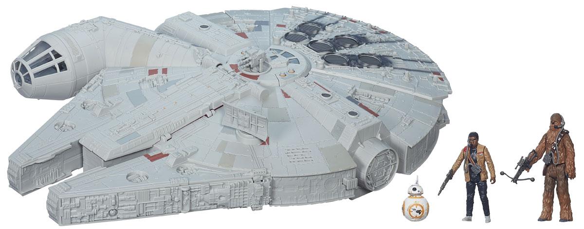 Star Wars Космический корабль Тысячелетний соколB3678EU4Космический корабль Star Wars Тысячелетний сокол - это идеальный подарок любому фанату Звездный войн! Этот культовый корабль проработан с поражающей воображение детализацией, включает различные поверхности, боевые орудия и многое другое. Перезаряжаемые пушки стреляют настоящими снарядами, имеются световые и звуковые эффекты работы бортовых систем корабля. В мельчайших подробностях воссоздан и внутренний интерьер. Создай свой галактический флот с огромным космическим кораблем из нового фильма! В комплекте с кораблем идут 3 фигурки героев Звездных войн, их оружие. Размеры корабля - 57 см х 41 см х 20 см. Высота фигурки Чубакки - 12 см. Для работы игрушки необходимы 2 батарейки типа АА (не входят в комплект).