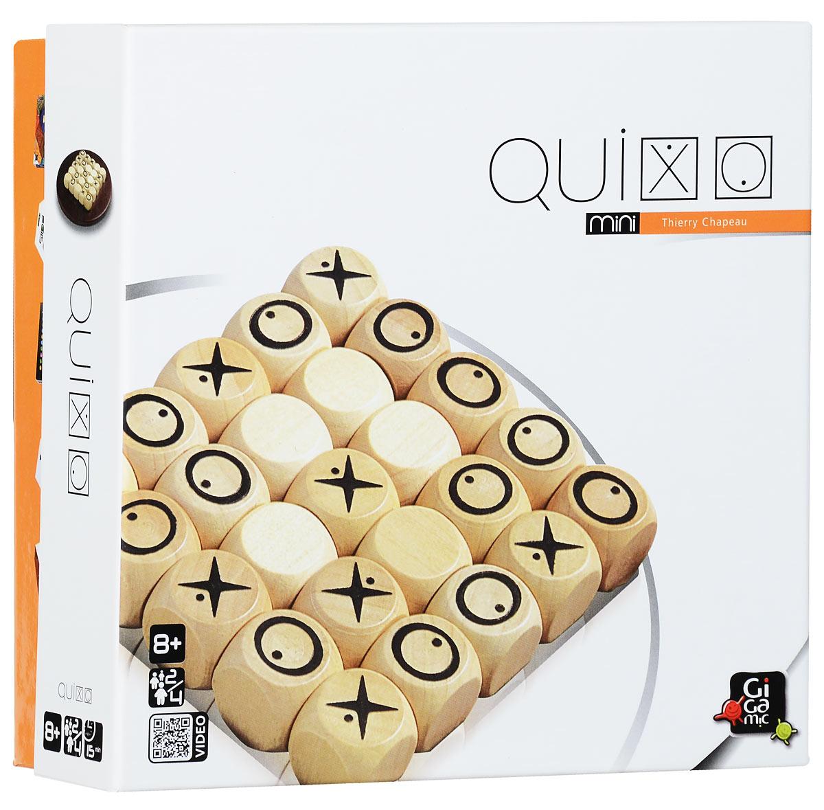 Gigamic Настольная игра Quixo MiniУТ000000178Настольная игра Gigamic Quixo Mini предназначается для детей в возрасте от восьми лет. Рассчитана на 2-4 игроков. Подготовка к игре: Игровое поле и 25 деревянных кубиков. На одной стороне кубика изображен крестик, на другой - нолик; остальные стороны кубика пустые. В игре символ имеет значение только тогда, когда он находится на верхней стороне кубика. Точки у символов имеют значение только в командной игре. В начале игры все 25 кубиков разместите на игровом поле пустой стороной вверх. Игроки (или команды) выбирают символ и определяют, кто начнет игру. Цель игры: составить ряд из 5 кубиков со своим символом по вертикали, горизонтали или диагонали.