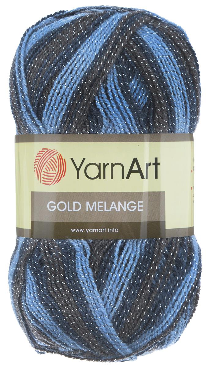 Пряжа для вязания YarnArt Gold Melange, цвет: синий, голубой, коричневый (9510), 400 м, 100 г, 5 шт372102_9510Пряжа YarnArt Gold Melange изготовлена из акрила с добавлением металлик полиэстера. Цвета плавно переходят один в другой, что очень удобно при вязании жаккардовым узором. Пряжа меланжевая, поэтому подходит для изделий под любой гардероб, идеальна для вязания шарфов и декоративной отделки вязаного изделия. Пряжа окрашена равномерно с помощью стойких высококачественных красителей, нить плотно скручена, полиэстер не выбивается в процессе вязания, петли ложатся равномерно. YarnArt Gold Melange - декоративная пряжа с широкой цветовой палитрой, предназначенная для демисезонной одежды. Акрил защищает готовое изделие от деформации после стирки и сушки. Вяжется легко и быстро. Даже новичкам доступно сделать неповторимое изделие. Стильная пряжа с привлекательным, благородным блестящим эффектом. Рекомендованный размер спиц 2,75. Рекомендованный размер крючка 3,25. Состав: 92% акрил, 8% металлик полиэстер.