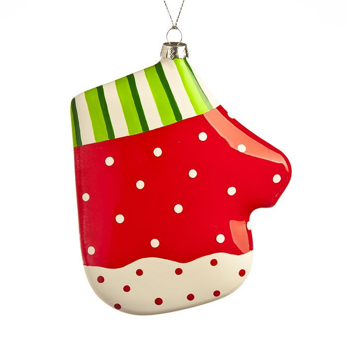 Новогоднее подвесное украшение Its a Happy Day Рукавица, высота 14,5 см. 6651866518Новогоднее подвесное украшение, выполненное в виде рукавицы, изготовлено из стекла и декорировано рисунком. Изделие оснащено петелькой для подвешивания. Такое украшение прекрасно оформит интерьер дома или станет замечательным подарком для друзей и близких на Новый год.