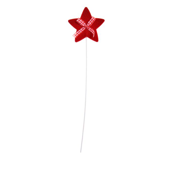 Декоративное украшение на палочке Lunten Ranta Звезда, длина 28 см, 2 шт67742_5Декоративное украшение на палочке Lunten Ranta Звезда прекрасно оформит интерьер и рабочий стол не только дома, но и в офисе. Фигурка звезды, выполненная из красного фетра, расположена на деревянной ножке. Создайте в своем доме атмосферу веселья и радости, украшая его всей семьей новогодними украшениями, которые будут из года в год накапливать теплоту воспоминаний. Размер звезды: 7 см х 7 см.