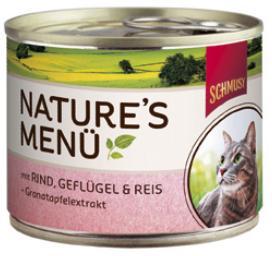 Консервы для кошек Шмуси говядина с птицей, 190 г70052Шмуси натура - это полноценная еда для кошек и котов с множеством натуральных ингредиентов. Корм Шмуси богат содержанием отборного мяса, потому что кошки - это настоящие хищники и нуждаются в пище, богатой белками. В этих баночках плотно набитые кусочки мяса без жидкости. Кроме отборного мяса в корм добавлена мука из семян граната. Гранат благодаря своим антиоксидантным свойствам защищает клетки от так называемых свободных радикалов. Также добавлен таурин для правильного развития организма кошек. Состав: Говядина, домашняя птица, печень, мясные субпродукты, рис, минеральные вещества, мука семян граната.