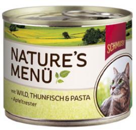 Консервы для кошек Шмуси дичь с тунцом, 190 г70054Шмуси натура - это полноценная еда для кошек и котов с множеством натуральных ингредиентов. Корм Шмуси богат содержанием отборного мяса, потому что кошки - это настоящие хищники и нуждаются в пище, богатой белками. В этих баночках плотно набитые кусочки мяса без жидкости. Кроме отборного мяса в этот корм добавлен яблочный жмых, который отлично регулирует деятельность желудка и кишечника, как во время игр, так и во время отдыха. Также добавлен таурин для правильного развития организма кошек. Состав: Отборное мясо, дичь, тунец, лёгкие, печень, мясные субпродукты, паста, яблочный жмых, минеральные вещества. Условия хранения: комнатная температура в закрытом виде, после вскрытия до 2 дней в холодильнике. Особенности: Натуральные компоненты; Без сои, красителей, ароматизаторов, костной муки; Без консервантов Состав: Мясо;Дмчь;Тунец