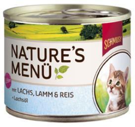 Консервы для котят Шмуси лосось с ягненком, 190 г70059Шмуси натура - это полноценная еда для кошек и котов с множеством натуральных ингредиентов. Корм Шмуси богат содержанием отборного мяса, потому что кошки - это настоящие хищники и нуждаются в пище, богатой белками. В этих баночках плотно набитые кусочки мяса без жидкости. Кроме отборного мяса в корм добавлен лососёвый жир, богатый жирными кислотами Омега-3, которые необходимы для правильного развития здорового котёнка. Также добавлен таурин для правильного развития скелета и нервной системы кошек. Состав: Отборное мясо, ягнёнок, лосось, лёгкие, печень, мясные субпродукты, рис, лососёвый жир, минеральные вещества.