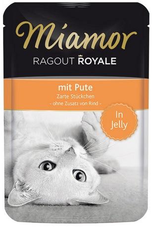 Консервы для кошек Миамор Королевское Рагу индейка в желе, 100 г74052Миамор королевское рагу - это нежные кусочки, приготовленные в изысканном желе. Производятся по особой щадящей технологии для сохранения витаминов с высокой долей мяса домашних животных. Миамор - это полноценный повседневный корм для кошек и котов, который очень легко усваивается. Не содержит сои, красителей и ароматизаторов, за то содержит множество полезных веществ, например магний, который необходим для здоровья кошек. Условия хранения: комнатная температура в закрытом виде, после вскрытия до 2 дней в холодильнике. Особенности: Натуральные компоненты; Без сои, красителей, ароматизаторов, костной муки; Без консервантов Состав: Индейка;Птица;Витамины