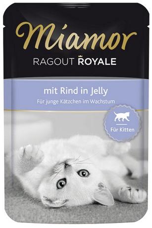 Консервы для котят Миамор Королевское Рагу говядина в желе, 100 г74057Миамор королевское рагу - это нежные кусочки, приготовленные в изысканном желе. Производятся по особой щадящей технологии для сохранения витаминов с высокой долей мяса домашних животных. Миамор - это полноценный повседневный корм для котят, который очень легко усваивается. Не содержит сои, красителей и ароматизаторов, за то содержит множество полезных веществ, например магний, который необходим для здоровья котят. Условия хранения: комнатная температура в закрытом виде, после вскрытия до 2 дней в холодильнике. Особенности: Натуральные компоненты; Без сои, красителей, ароматизаторов, костной муки; Без консервантов Состав: Говядина;Птица;Витамины