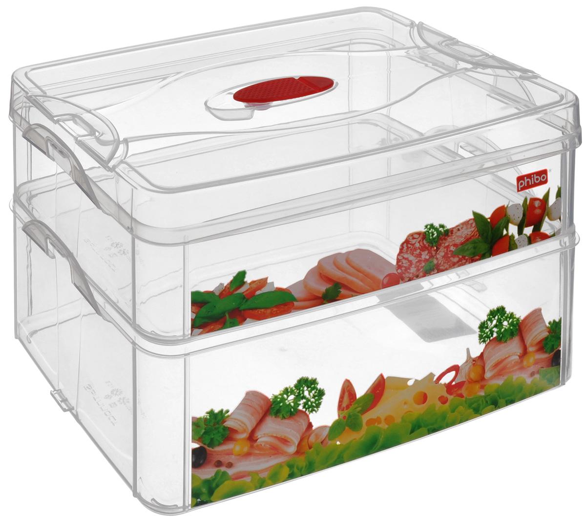 Контейнер для продуктов Phibo Smart System, 2 секции, с клапаном, 25 х 16 х 16,5 см С12865С12865_колбаса, сырКонтейнер Phibo Smart System изготовлен из высококачественного пластика, не содержит Бисфенол А. Предназначен для хранения продуктов. Изделие декорировано ярким рисунком в виде колбасной и сырной нарезки. Контейнер легко открывается, оснащен двумя съемными отделениями и клапаном на крышке. Не требует особого ухода. Контейнер Phibo Smart System - отличное решение для хранения продуктов. Размер маленького отделения (без крышки): 24 см х 15,5 см х 6 см. Объем маленького отделения: 2 л. Размер большого отделения: 24 см х 15,5 см х 9 см. Объем большого отделения: 3 л.
