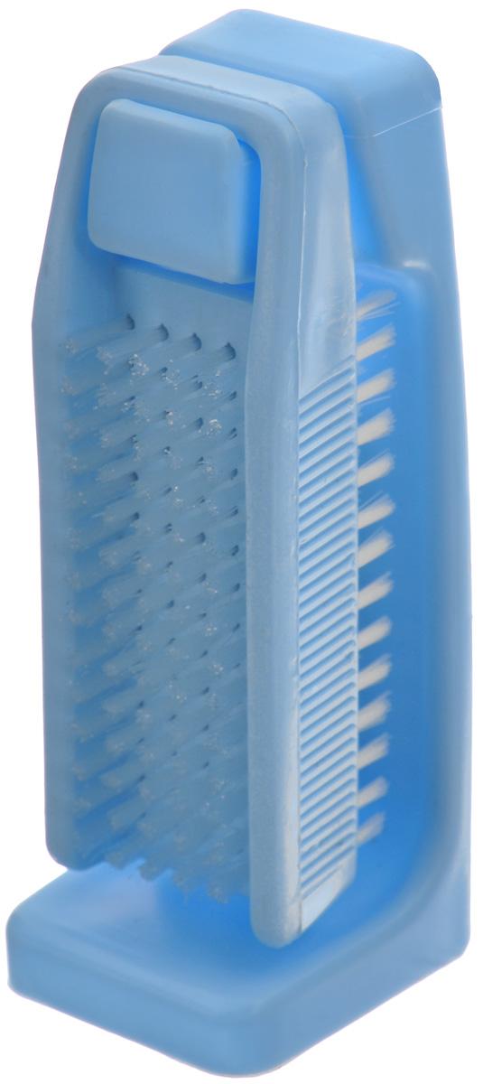 Щетка для рук Banat, с подставкой, цвет: голубой730266Двухсторонняя щетка для рук и ногтей Banat изготовлена из пластика. Внешняя сторона с мягкой плотной щетиной. Внутренняя сторона с мягкой упругой длинной щетиной. Подставка крепится к стене на скотч-липучку. Такая щетка идеально ухаживает за вашими ногтями и руками. Размер щетки: 11 х 4 х 3 см. Длина щетины: 1 см. Размер подставки: 12,5 х 5 х 4 см.