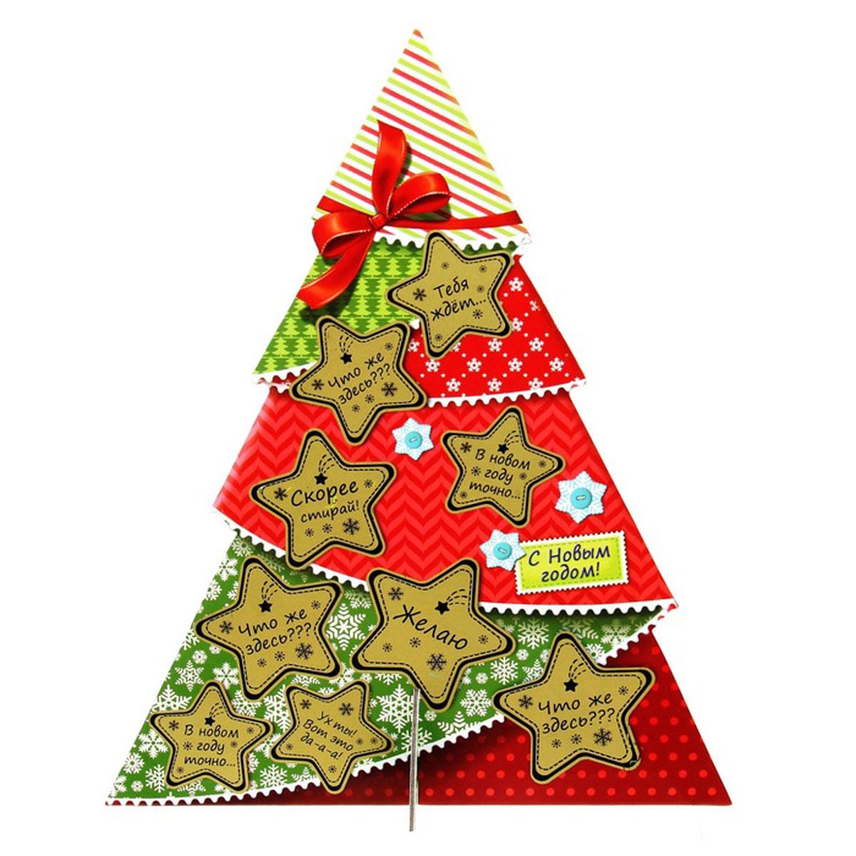 Украшение новогоднее Sima-land С Новым годом!, со скретч-слоем, 23,5 см х 29,2 см1099049Украшение новогоднее Sima-land С Новым годом!, изготовленное из картона, отлично подойдет для декорации вашего дома. Украшение выполнено в виде ели, декорированной снежинками, которая собирается из двух частей крест-накрест. На деревце развешаны, словно игрушки, маленькие пожелания под скретч-слоем, который нужно стереть, когда часы пробьют двенадцать. Новогодние украшения всегда несут в себе волшебство и красоту праздника. Создайте в своем доме атмосферу тепла, веселья и радости, украшая его всей семьей.