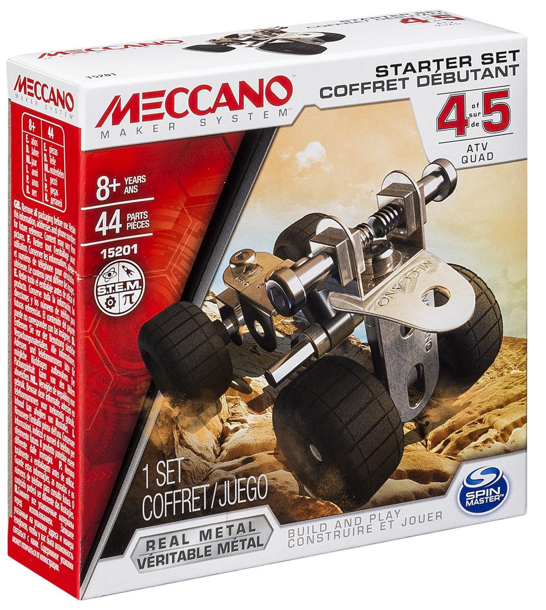 Meccano Конструктор Базовая модель 491783_20070931Конструктор Meccano Базовая модель 4 позволит вашему ребенку весело и с пользой провести время. Базовые наборы созданы для ознакомления с принципами сборки конструкторов Meccano. Набор включает в себя 44 детали из металла, пластика и резины, с помощью которых можно собрать одну из 5 базовых моделей. В набор также входят все необходимые для сборки инструменты и инструкция. Конструктор Meccano Базовая модель 4 поможет ребенку развить мелкую моторику рук, координацию движений и усидчивость.