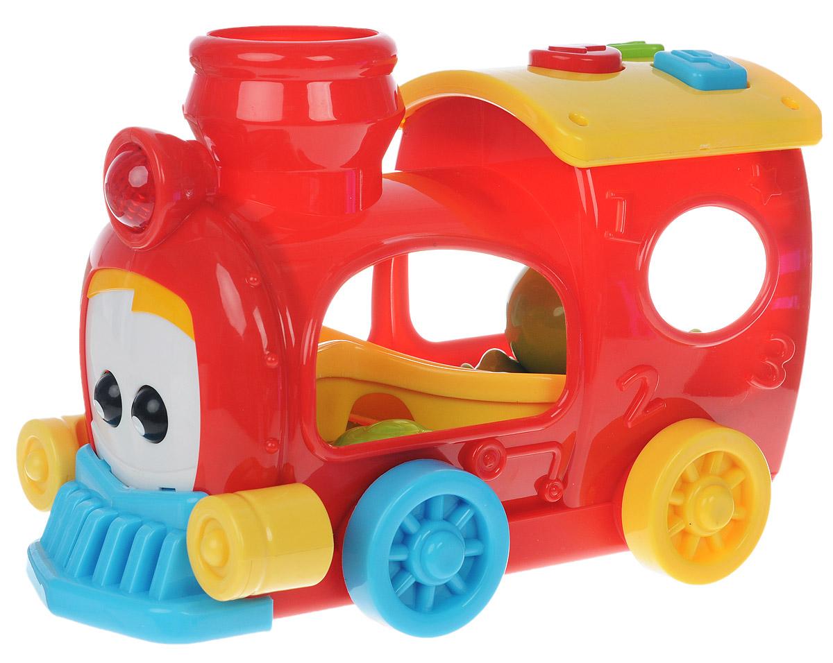 Simba Музыкальная игрушка Веселый паровозик4012778Красочная развивающая игрушка Simba Веселый паровозик понравится любому малышу. Игрушка изготовлена из высококачественного пластика ярких оттенков в виде забавного паровозика. Нажимая на большие разноцветные кнопочки на его крыше, можно вызвать разные функции. Нажмите на кнопку со значком ноты - и паровозик издаст звук настоящего поезда и проиграет веселую мелодию. А если нажать на кнопку со стрелочкой, паровозик самостоятельно поедет, мигая огоньками и проигрывая веселую музыку. Ребенку будет интересно передвигаться за ездящим паровозиком по комнате - ползком, или даже делая первые шаги. В комплекте с паровозиком идут два пластиковых зеленых шарика. Если опустить шарик в трубу, глазки паровозика будут двигаться, включится подсветка и заиграет музыка. Благодаря данной игрушке ребенок будет развивать мелкую моторику и цветовое и звуковое восприятие. Для работы необходимы 2 батарейки типа АА (комплектуется демонстрационными).