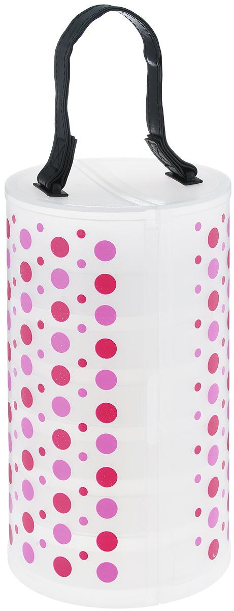 Органайзер для хранения вещей Hobby&Pro, с 6 контейнерами, цвет: прозрачный, малиновый, розовый, 13 x 13 x 23 см7712596Органайзер Hobby&Pro, изготовленный из пластика, предназначен для хранения необходимых вещей, множества мелочей и аксессуаров, а также предметов рукоделия: бисера, иголок, пуговиц, пайеток. Изделие выполнено в форме цилиндра с 6 круглыми секциями внутри. Кроме того, в каждой секции имеется круглый съемный контейнер, внутри него - 8 мини-секций, каждая из которых закрывается крышкой. Органайзер оснащен ручкой из искусственной кожи для удобной переноски и надежным замком-защелкой. Этот нужный предмет может стать одновременно и декоративным элементом комнаты. Яркий дизайн, как ничто иное, способен оживить интерьер вашего дома. Размер органайзера: 13 см x 13 см x 23 см. Размер секции: 12 см х 12 см х 2,1 см. Размер контейнера: 10,5 см х 10,5 см х 2,5 см. Размер мини-секции контейнера: 3 см х 3 см х 2,5 см.