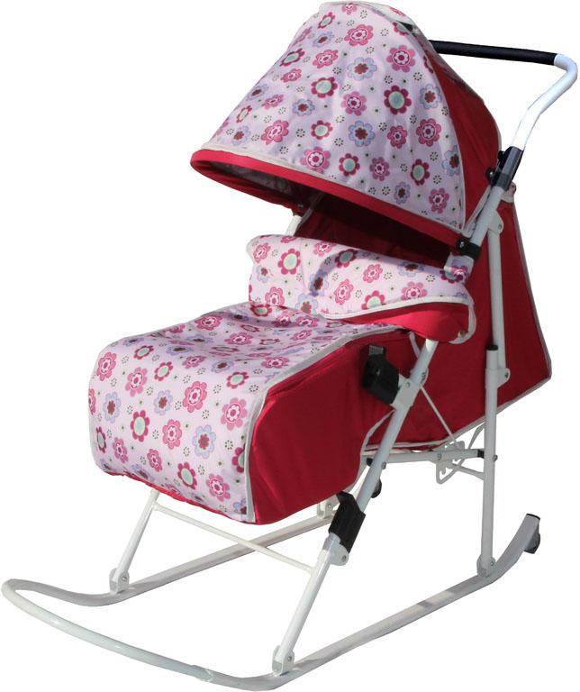 Санки-коляска Любава (Розовый (Полянка))СКЛРпСкладные санки-коляска с плоскими полозьями, 5 положений спинки, увеличенное посадочное место, ремень безопасности, складывающийся козырек, смотровое окошко, чехол для ног.