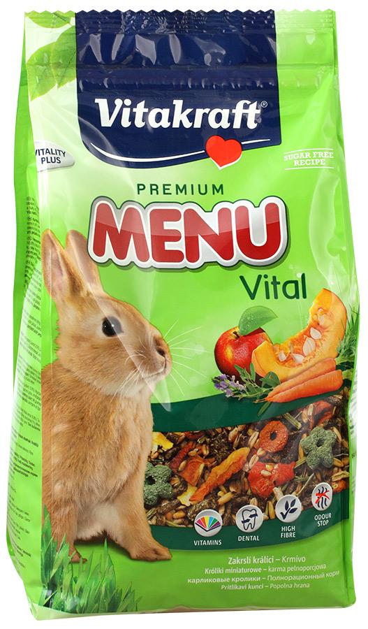 Корм для кроликов Vitakraft Menu Vital, 1 кг10645Сбалансированный корм для кроликов Vitakraft Menu Vital для ежедневного применения. В состав входят: овощи, семена, злаки, витамины и минералы, а так же клетчатка, необходимая для правильной работы пищеварительной системы. Состав: компоненты растительного происхождения, злаки, овощи, фрукты, минералы, растительные масла и жиры, сахар, семена. Анализ: 13% протеин, 3% масло, 13% клетчатка, 6% зола, 10% влажность, 54,5% углеводы, витамины А, Е, С, В1, В2. Товар сертифицирован.