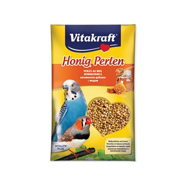 Подкормка для волнистых попугаев Vitakraft Honig-Perlen, медовая, 20 г21182Подкормка для волнистых попугаев Vitakraft Honig-Perlen с добавлением меда. Мед является древнейшим испытанным средством для здоровья и благополучия. Птица получает лецитин, глюкозу, кальций и различные витамины. Главным составляющим препарата является высококачественное первосортное зерно, которое очень полезно для птиц. Состав: пшеница, минералы, 1%-мед, масла, жиры, волокна, сахар, витамины. Товар сертифицирован.