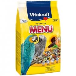Корм для крупных попугаев Vitakraft Menu, 1 кг10601Основной корм для крупных попугаев Vitakraft Menu, обогащен минералами и витаминами, полностью сбалансирован. Содержит зерно, обогащенное витаминами, орехи, мед, растительные жиры и минеральные добавки. Состав: зерно, злаковые, орех, минеральные добавки, сахар, мед. Содержит витамины, белок 11.6%, витамин А, жир 10.3%, витамин Д3, целлюлоза 7,8%, витамин С, зола 5,4%, витамин В2, влажность11,3%, йод. Рекомендации по кормлению: суточная норма 25-30 грамм (4 столовые ложки). Товар сертифицирован.