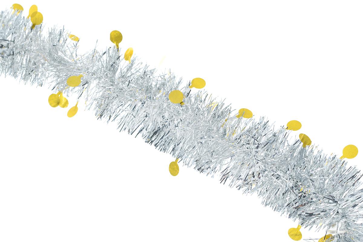 Мишура новогодняя Sima-land, цвет: серебристый, желтый, диаметр 5 см, длина 200 см. 702612702612_серебристый, желтыйНовогодняя мишура Sima-land, выполненная из фольги с дизайном в виде кружочков, поможет вам украсить свой дом к предстоящим праздникам. А новогодняя елка с таким украшением станет еще наряднее. Мишура армирована, то есть имеет проволоку внутри и способна сохранять приданную ей форму. Новогодней мишурой можно украсить все, что угодно - елку, квартиру, дачу, офис - как внутри, так и снаружи. Можно сложить новогодние поздравления, буквы и цифры, мишурой можно украсить и дополнить гирлянды, можно выделить дверные колонны, оплести дверные проемы. Коллекция декоративных украшений из серии Зимнее волшебство принесет в ваш дом ни с чем несравнимое ощущение праздника! Создайте в своем доме атмосферу тепла, веселья и радости, украшая его всей семьей.