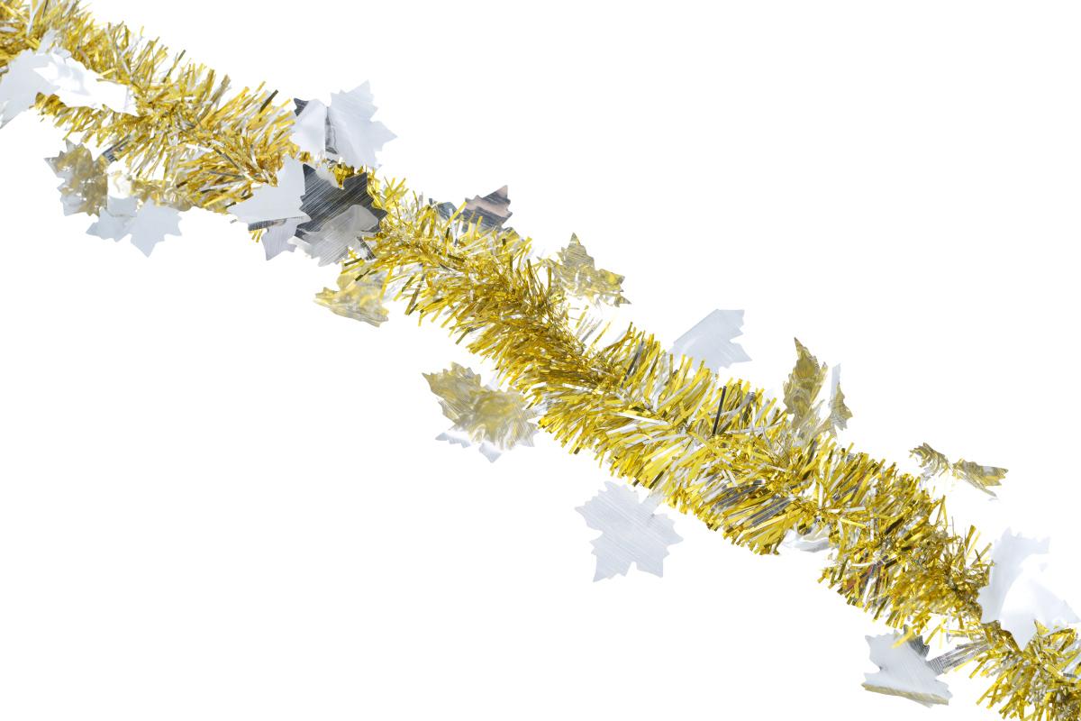 Мишура новогодняя Sima-land, цвет: золотистый, серебристый, диаметр 5 см, длина 200 см. 702606702606_серебристыйНовогодняя мишура Sima-land, выполненная из фольги с дизайном в виде кленовых листочков, поможет вам украсить свой дом к предстоящим праздникам. А новогодняя елка с таким украшением станет еще наряднее. Мишура армирована, то есть имеет проволоку внутри и способна сохранять приданную ей форму. Новогодней мишурой можно украсить все, что угодно - елку, квартиру, дачу, офис - как внутри, так и снаружи. Можно сложить новогодние поздравления, буквы и цифры, мишурой можно украсить и дополнить гирлянды, можно выделить дверные колонны, оплести дверные проемы. Коллекция декоративных украшений из серии Зимнее волшебство принесет в ваш дом ни с чем несравнимое ощущение праздника! Создайте в своем доме атмосферу тепла, веселья и радости, украшая его всей семьей.