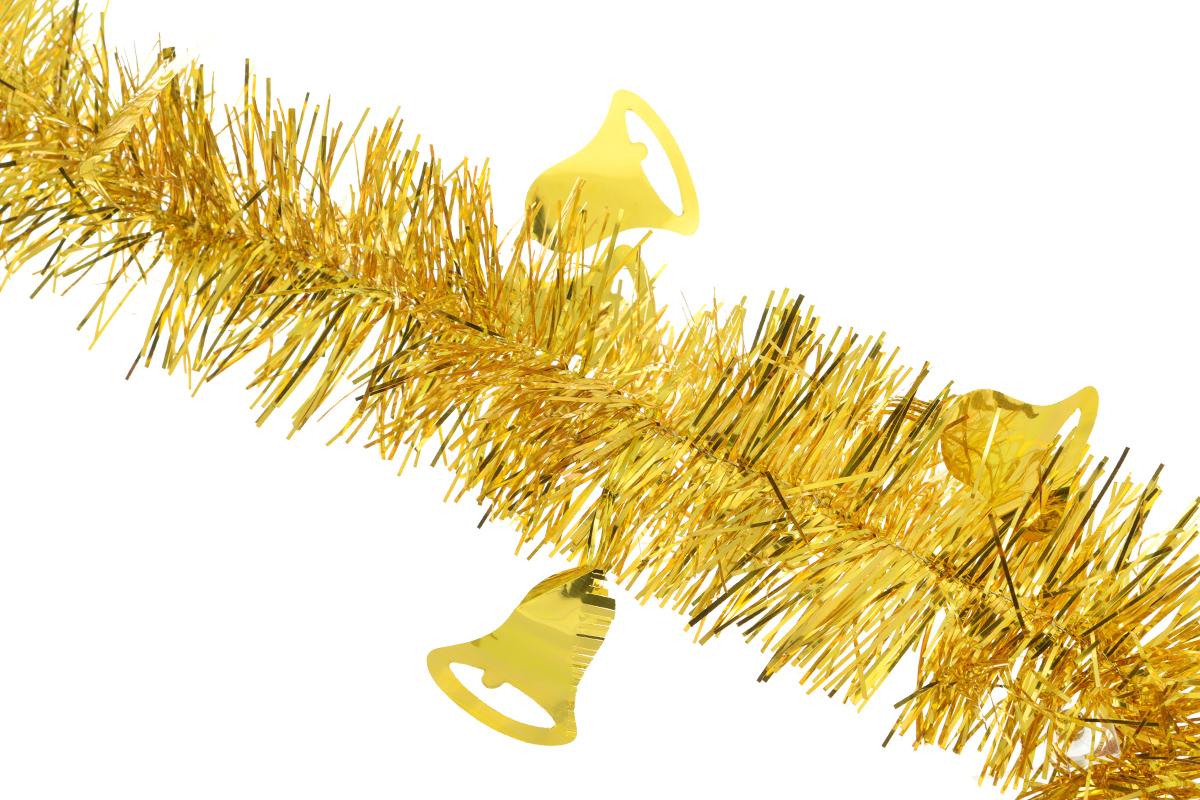 Мишура новогодняя Sima-land, цвет: золотистый, диаметр 8 см, длина 200 см. 702594702594_золотистыйНовогодняя мишура Sima-land, выполненная из фольги с дизайном в виде колокольчиков, поможет вам украсить свой дом к предстоящим праздникам. А новогодняя елка с таким украшением станет еще наряднее. Мишура армирована, то есть имеет проволоку внутри и способна сохранять приданную ей форму. Новогодней мишурой можно украсить все, что угодно - елку, квартиру, дачу, офис - как внутри, так и снаружи. Можно сложить новогодние поздравления, буквы и цифры, мишурой можно украсить и дополнить гирлянды, можно выделить дверные колонны, оплести дверные проемы. Коллекция декоративных украшений из серии Зимнее волшебство принесет в ваш дом ни с чем несравнимое ощущение праздника! Создайте в своем доме атмосферу тепла, веселья и радости, украшая его всей семьей.