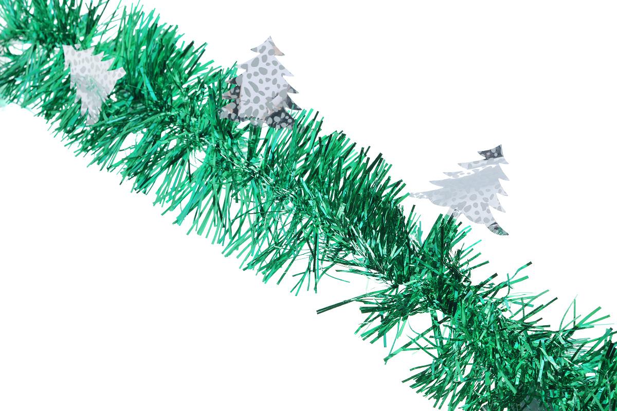 Мишура новогодняя Sima-land, цвет: зеленый, серебристый, диаметр 9 см, длина 200 см. 825986825986_зеленыйНовогодняя мишура Sima-land, выполненная из фольги с дизайном в виде елочек, поможет вам украсить свой дом к предстоящим праздникам. А новогодняя елка с таким украшением станет еще наряднее. Мишура армирована, то есть имеет проволоку внутри и способна сохранять приданную ей форму. Новогодней мишурой можно украсить все, что угодно - елку, квартиру, дачу, офис - как внутри, так и снаружи. Можно сложить новогодние поздравления, буквы и цифры, мишурой можно украсить и дополнить гирлянды, можно выделить дверные колонны, оплести дверные проемы. Коллекция декоративных украшений из серии Зимнее волшебство принесет в ваш дом ни с чем несравнимое ощущение праздника! Создайте в своем доме атмосферу тепла, веселья и радости, украшая его всей семьей.