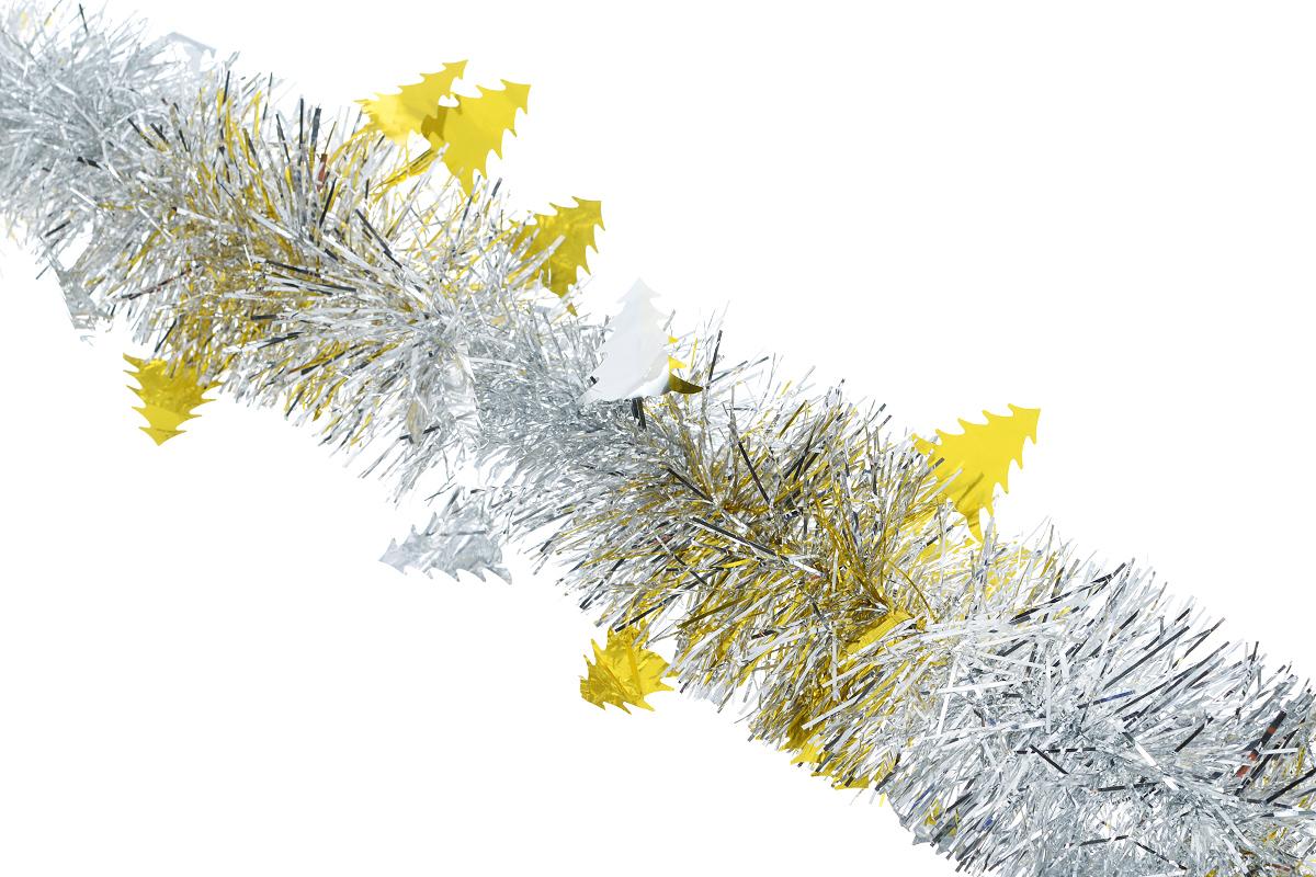 Мишура новогодняя Sima-land, цвет: серебристый, золотистый, диаметр 8 см, длина 200 см. 702601702601_золотистыйНовогодняя мишура Sima-land, выполненная из фольги с дизайном в виде елочек, поможет вам украсить свой дом к предстоящим праздникам. А новогодняя елка с таким украшением станет еще наряднее. Мишура армирована, то есть имеет проволоку внутри и способна сохранять приданную ей форму. Новогодней мишурой можно украсить все, что угодно - елку, квартиру, дачу, офис - как внутри, так и снаружи. Можно сложить новогодние поздравления, буквы и цифры, мишурой можно украсить и дополнить гирлянды, можно выделить дверные колонны, оплести дверные проемы. Коллекция декоративных украшений из серии Зимнее волшебство принесет в ваш дом ни с чем несравнимое ощущение праздника! Создайте в своем доме атмосферу тепла, веселья и радости, украшая его всей семьей.