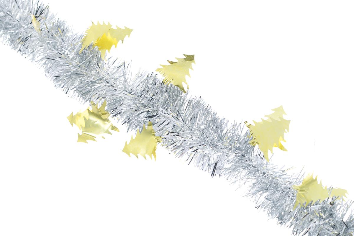 Мишура новогодняя Sima-land, цвет: серебристый, золотистый, диаметр 5 см, длина 200 см. 702604702604_золотистыйНовогодняя мишура Sima-land, выполненная из фольги с дизайном в виде елочек, поможет вам украсить свой дом к предстоящим праздникам. А новогодняя елка с таким украшением станет еще наряднее. Мишура армирована, то есть имеет проволоку внутри и способна сохранять приданную ей форму. Новогодней мишурой можно украсить все, что угодно - елку, квартиру, дачу, офис - как внутри, так и снаружи. Можно сложить новогодние поздравления, буквы и цифры, мишурой можно украсить и дополнить гирлянды, можно выделить дверные колонны, оплести дверные проемы. Коллекция декоративных украшений из серии Зимнее волшебство принесет в ваш дом ни с чем несравнимое ощущение праздника! Создайте в своем доме атмосферу тепла, веселья и радости, украшая его всей семьей.