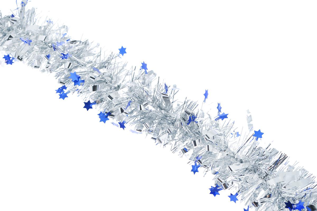 Мишура новогодняя Sima-land, цвет: серебристый, синий, диаметр 7 см, длина 200 см. 452427452427_синийНовогодняя мишура Sima-land, выполненная из фольги с дизайном в виде звездочек, поможет вам украсить свой дом к предстоящим праздникам. А новогодняя елка с таким украшением станет еще наряднее. Мишура армирована, то есть имеет проволоку внутри и способна сохранять приданную ей форму. Новогодней мишурой можно украсить все, что угодно - елку, квартиру, дачу, офис - как внутри, так и снаружи. Можно сложить новогодние поздравления, буквы и цифры, мишурой можно украсить и дополнить гирлянды, можно выделить дверные колонны, оплести дверные проемы. Коллекция декоративных украшений из серии Зимнее волшебство принесет в ваш дом ни с чем несравнимое ощущение праздника! Создайте в своем доме атмосферу тепла, веселья и радости, украшая его всей семьей.