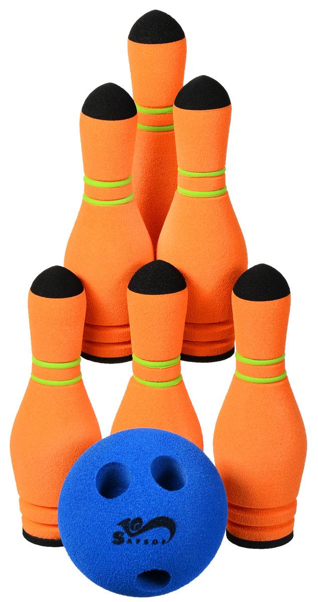 Safsof Игровой набор Мини-боулинг цвет синий оранжевыйMBB-05(B)_синий, оранжевыйИгровой набор Safsof Мини-боулинг, изготовленный из вспененной резины, состоит из шести кеглей и шара. Набор выполнен из мягкого материала, что обеспечивает безопасность ребенку. Суть игры в боулинг - сбить шаром максимальное количество кеглей. Число игроков и количество туров - произвольное. Очки, набранные с каждым броском мяча, рассматриваются как количество сбитых кегель. Расстояние, с которого совершается бросок, определяется игроками. Каждый игрок имеет право на два броска в одной рамке (рамка - треугольник, на поле которого выстраиваются кегли перед каждым первым броском очередного игрока). Бросок, при котором все кегли сбиты, называется страйк и обозначается как Х. Если все кегли сбиты первым броском, второй бросок не требуется: рамка считается закрытой. Призовые очки за страйк - это сумма кеглей, сбитых игроком следующими двумя бросками. Выигрывает тот игрок, который в сумме набирает больше очков.