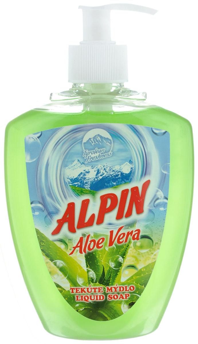 Жидкое мыло Alpin Aloe Vera, 500 млАB0500PAVAЖидкое мыло Alpin Aloe Vera подходит для бережного очищения кожи от любых загрязнений, обладает приятным ароматом. Создает обильную мыльную пену и придает коже ощущение чистоты, гладкости и шелковистости. Это мыло хорошо растворяется, имеет сбалансированный уровень рН, не вызывает раздражения и подходит для ежедневного очищения даже самой чувствительной кожи лица, рук и тела. Товар сертифицирован.