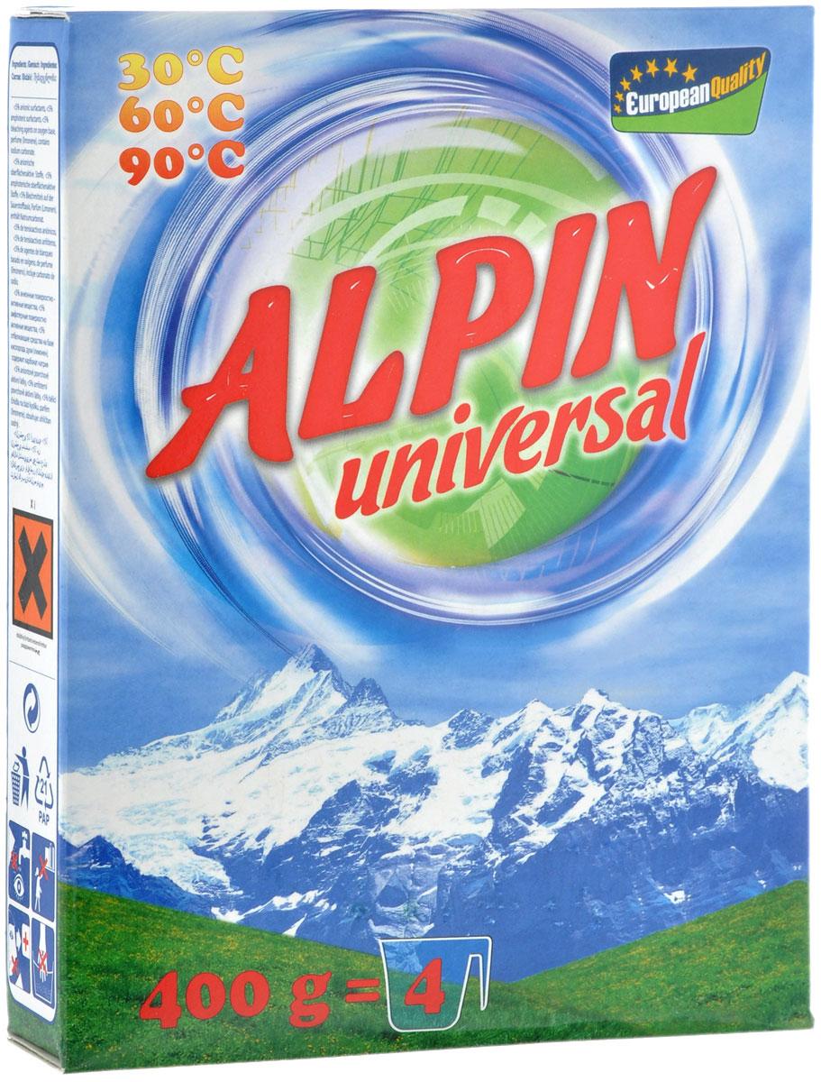 Стиральный порошок Alpin Universal, 400 гАB0400KULСтиральный порошок Alpin Universal с активным кислородом, обладает очень хорошими стирающими свойствами даже при невысокой температуре воды. Устраняет пятна, не повреждая волокна ткани. Уникальная новая формула стирального порошка для любых видов тканей, в том числе и цветных, позволяет использовать его в любых режимах при любой температуре. Ваши вещи никогда не деформируются и не полиняют. Товар сертифицирован.