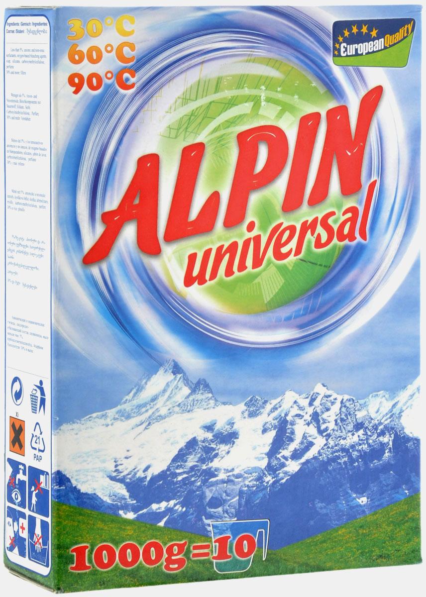 Стиральный порошок Alpin Universal, 1 кгАB1000PULСтиральный порошок Alpin Universal с активным кислородом, обладает очень хорошими стирающими свойствами даже при невысокой температуре воды. Устраняет пятна, не повреждая волокна ткани. Уникальная новая формула стирального порошка для любых видов тканей, в том числе и цветных, позволяет использовать его в любых режимах при любой температуре. Ваши вещи никогда не деформируются и не полиняют. Товар сертифицирован.