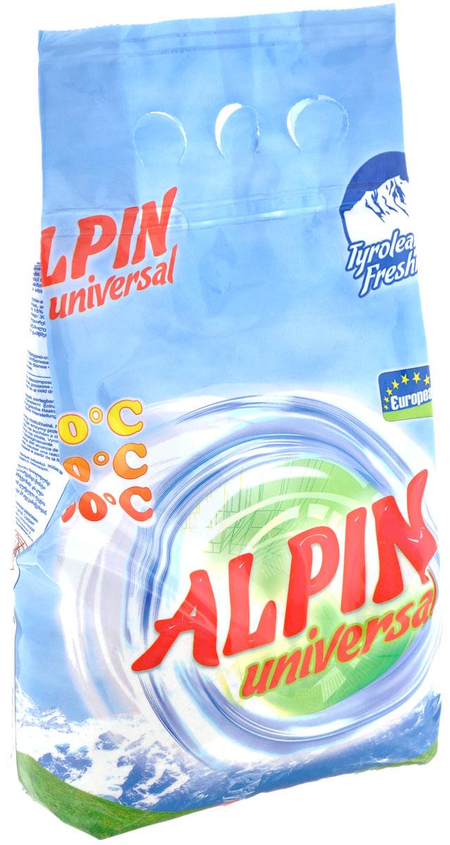 Стиральный порошок Alpin Universal, 1,5 кгАB1500PULСтиральный порошок Alpin Universal с активным кислородом, обладает очень хорошими стирающими свойствами даже при невысокой температуре воды. Устраняет пятна, не повреждая волокна ткани. Уникальная новая формула стирального порошка для любых видов тканей, в том числе и цветных, позволяет использовать его в любых режимах при любой температуре. Ваши вещи никогда не деформируются и не полиняют. Товар сертифицирован.