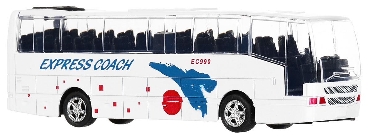 Big Motors Автобус инерционный Cheerful Bus цвет белый27893-80136L;XL80136L_белыйИнерционная игрушка Big motors Cheerful Bus выполненная из пластика и металла, станет любимой игрушкой вашего малыша. Игрушка представляет собой модель автобуса с надписью Express Coach. При нажатии на крышу замигает внутренняя подсветка, раздастся звук работающего двигателя и веселая музыка. Игрушка оснащена инерционным ходом. Автобус необходимо отвести назад, затем отпустить - и он быстро поедет вперед. Прорезиненные колеса обеспечивают надежное сцепление с любой гладкой поверхностью. Ваш ребенок будет часами играть с этой игрушкой, придумывая различные истории. Порадуйте его таким замечательным подарком! Для работы игрушки необходимы 3 батарейки типа LR44 (товар комплектуется демонстрационными).