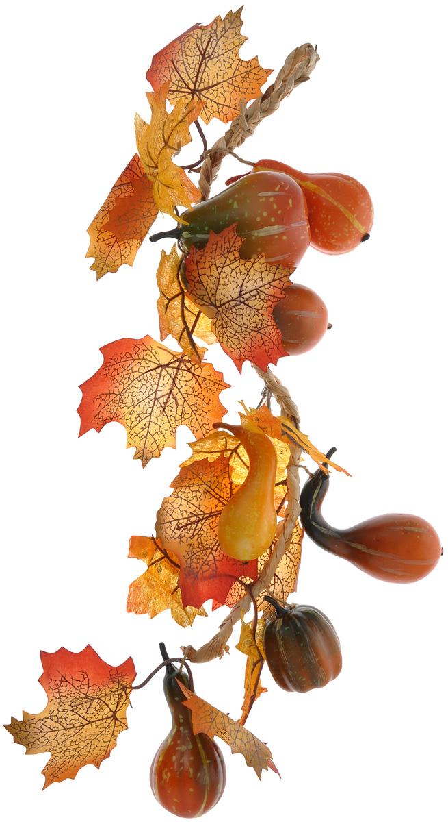 Муляж Fancy Fair Тыквы в связке, длина 60 смP60Муляж Fancy Fair Тыквы в связке выполнен до поразительного натурально, что позволит создавать в интерьере самые разнообразные декоративные композиции. Муляж исключительно долго сохраняет свой натуральный и свежий вид. Изделие представляет собой плетеную веревочку с маленькими тыквами. Такой муляж - удачный вариант для украшения кухни, а также осеннего сада. Длина связки: 60 см.
