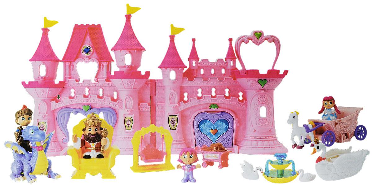Keenway Игровой набор с мини-куклами Дворец моей мечты21713Игровой набор Keenway Дворец моей мечты поможет вашей малышке почувствовать себя настоящей принцессой. Большой и уютный дворец располагает множеством комнат и выглядит как истинно королевские апартаменты. Если нажать на маленькое сердечко, расположенное на дворце, то можно услышать, как запускается салют под «дворцовую» мелодию. С помощью такого набора можно реализовать множество различных историй, ведь в комплект входит все необходимое: фигурки короля, сидящего на троне, принцессы, принца, маленького мальчика, дракона, двух лебедей, конная упряжка, фонтан, лодка, качели и столик на колесах. Элементы набора выполнены из качественных и безопасных материалов. Игровой набор Keenway Дворец моей мечты отлично развивает воображение, логическое мышление и мелкую моторику рук, а также увеличивает словарный запас и дает знания об окружающем мире. Рекомендуется докупить две батареи типа АА (товар комплектуется демонстрационными).