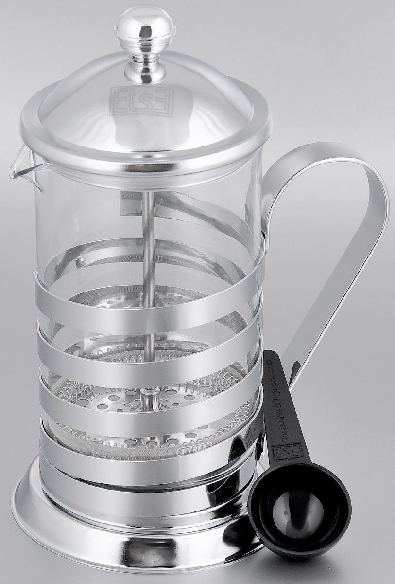 Френч-пресс Else Palau, с ложкой, цвет: серебристый, 800 мл1336Френч-пресс Else Palau поможет приготовить вкусный ароматный чай или кофе. Им очень легко пользоваться: засыпьте внутрь заварку, залейте водой, накройте крышкой с поднятым поршнем, дайте настояться и затем медленно опустите поршень. Таким образом напиток заваривается без чаинок. Колба изготовлена из жаропрочного стекла, устойчивого к царапинам и термошоку. Колба выполнена по технологии антикапля: верхний край и носик имеют специальный усиленный ободок, который препятствует скатыванию капель по наружной стенке чайника. Капля не падает с носика чайника, а втягивается обратно. Корпус френч-пресса выполнен из нержавеющей стали с хромированным покрытием. Точечная спайка металлических частей производится по технологии invisible, которая делает места соединения деталей незаметными. Полировка с использованием специальных паст на основе натуральных компонентов придает изделию ослепительный блеск. Идеально отшлифованные поверхности и элементы приятны...