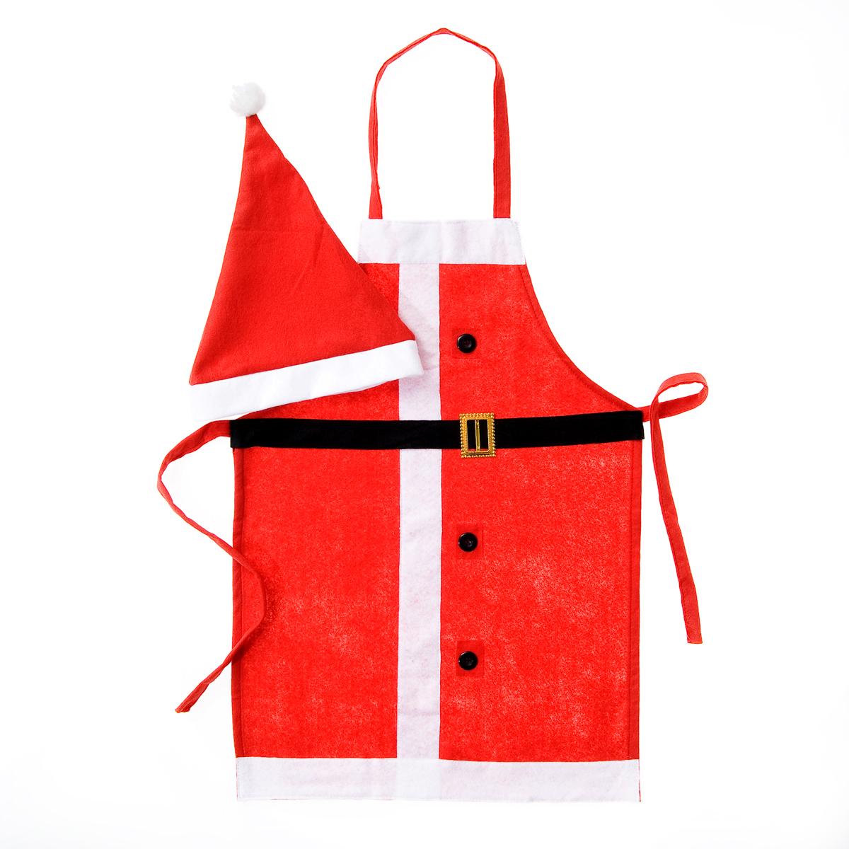 Набор сувенирный для кухни Lunten Ranta Дед Мороз, 2 предмета. Размер 44-4865778Сувенирный набор для кухни Lunten Ranta Дед Мороз состоит из фартука и колпака. Изделия выполнены из фетра в традиционной новогодней красно-белой расцветке. Фартук украшен муляжом ремня с золотистой пряжкой и пуговицами, завязывается на завязки на талии. Колпак выполнен в том же дизайне. Набор сувенирный для кухни Дед Мороз не только окунет вас и ваших близких в атмосферу праздника, но и поможет быстро и весело подготовить новогоднее меню, чтобы удивить семью и гостей. Размер фартука: 68 см х 48 см. Размер колпака: 38 см х 28 см.