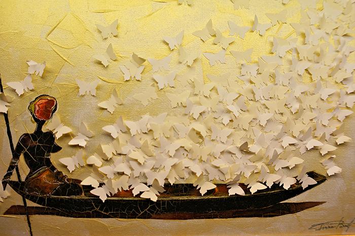 Авторская картина Слушать крылья бабочек. Ассамбляж, 35 х 25 см. Художник Ирина БастАКАСКБВдыхать свежий воздух реки и слушать крылья бабочек... Есть картины, которые приходят как откровение. Картина Слушать крылья бабочек - картина - медитация. Картина выполнена на холсте акриловыми красками. В работе применен натуральный перламутр, картина красиво переливается на солнце золотистыми оттенками. Особый эффект налета времени создают потрескавшиеся фрагменты картины. Холст на картоне, акрил, перламутр, акварельные краски, бумага, декоративные элементы Картина не требует дополнительной защиты, ее достаточно повесить на стену. Оформления не нужно. Ронять не рекомендуется.