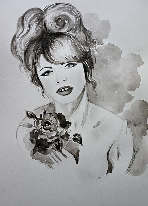 Авторская картина Брижит. Графика, 30 х 20 см. Художник Ирина БастАКГББрижит Бардо Знаменитая французская актриса и фотомодель. Секс-символ. Акварельная бумага, простой карандаш, черный контур Картина не требует дополнительной защиты, ее достаточно повесить на стену. Оформления не нужно. Ронять не рекомендуется.