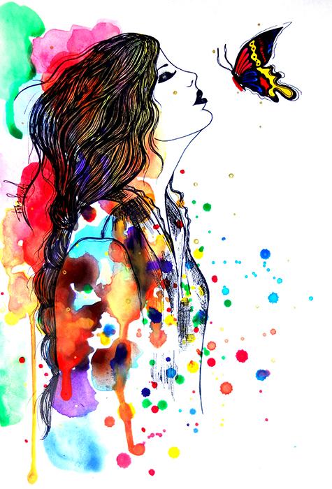 Авторская картина Поцелуй бабочки. Графика, 30 х 20 см. Художник Ирина БастАКГПБКартина-миниатюра Поцелуй бабочки. Fashion illustration. Легкая графика, созданная акварельными красками и простыми карандашами. Акварельная бумага, акварельные краски, простой карандаш Картина не требует дополнительной защиты, ее достаточно повесить на стену. Оформления не нужно. Ронять не рекомендуется.