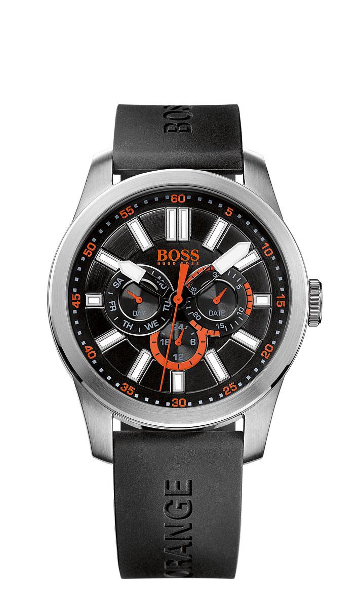 Часы мужские наручные Hugo Boss Paris, цвет: серебристый, черный, оранжевый. BO1512933BO1512933Стильные мужские часы Hugo Boss Paris выполнены из нержавеющей стали, силикона и минерального стекла. Изделие оформлено символикой бренда. Корпус часов выполнен из нержавеющей стали, оснащен кварцевым механизмом с тремя стрелками, индикатором даты, дня недели, суточным временем и имеет степень влагозащиты равную 3 atm. Ремешок изделия выполнен из силикона, оснащен пряжкой, которая позволит моментально снимать и надевать часы без лишних усилий. Изделие поставляется в фирменной упаковке. Часы Hugo Boss Paris подчеркнут мужской характер и отменное чувство стиля у их обладателя.