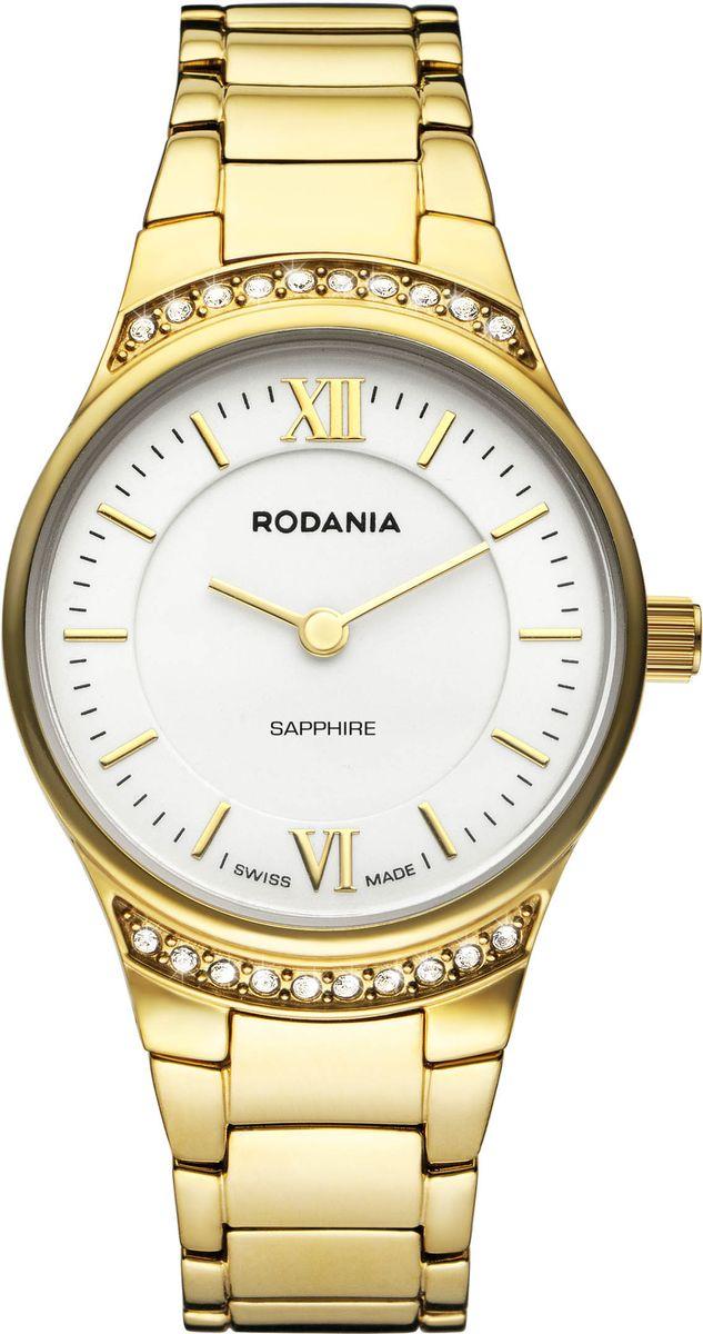 Часы женские наручные Rodania, цвет: белый, золотой. 25126602512660Элегантные женские часы Rodania выполнены из высоколегированной стали и сапфирового стекла. Изделие дополнено символикой бренда, корпус часов оформлен двадцатью кристаллами Swarovski. Корпус часов выполнен из нержавеющей стали, оснащен кварцевым механизмом Ronda 762 и имеет степень влагозащиты равную 3 atm. Браслет изделия дополнен практичной раскладной застежкой, которая позволит моментально снимать и одевать часы без лишних усилий. Изделие поставляется в фирменной упаковке. Часы Rodania подчеркнут изящность женской руки и отменное чувство стиля у их обладательницы.