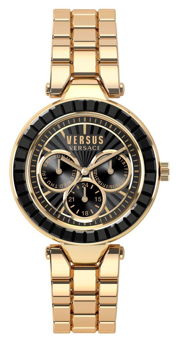 Часы женские наручные Versus Versace, цвет: черный, золотой. SOS120015SOS120015Оригинальные женские часы Versus Versace выполнены из нержавеющей стали и минерального стекла. Изделие дополнено символикой бренда. Корпус часов выполнен из нержавеющей стали, дополнен минеральным стеклом и имеет степень влагозащиты равную 3 atm. Изделие оснащено индикаторами даты. Браслет оснащен практичной раскладной застежкой, которая позволит моментально снимать и надевать часы без лишних усилий. Часы поставляются в фирменной упаковке. Часы Versus Versace подчеркнут изящность женской руки и отменное чувство стиля у их обладательницы.