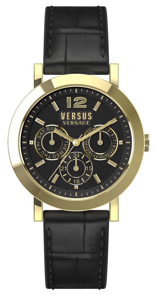 Часы женские наручные Versus Versace, цвет: черный, золотой. SOR020015SOR020015Оригинальные женские часы Versus Versace выполнены из нержавеющей стали, натуральной кожи и минерального стекла. Изделие дополнено символикой бренда и ремешком из натуральной кожи с тиснением под рептилию. Корпус часов выполнен из нержавеющей стали, дополнен минеральным стеклом и имеет степень влагозащиты равную 3 atm. Циферблат часов дополнен индикаторами даты. Ремешок дополнен практичной пряжкой, которая позволит моментально снимать и одевать часы без лишних усилий. Часы поставляются в фирменной упаковке. Часы Versus Versace подчеркнут изящность женской руки и отменное чувство стиля у их обладательницы.
