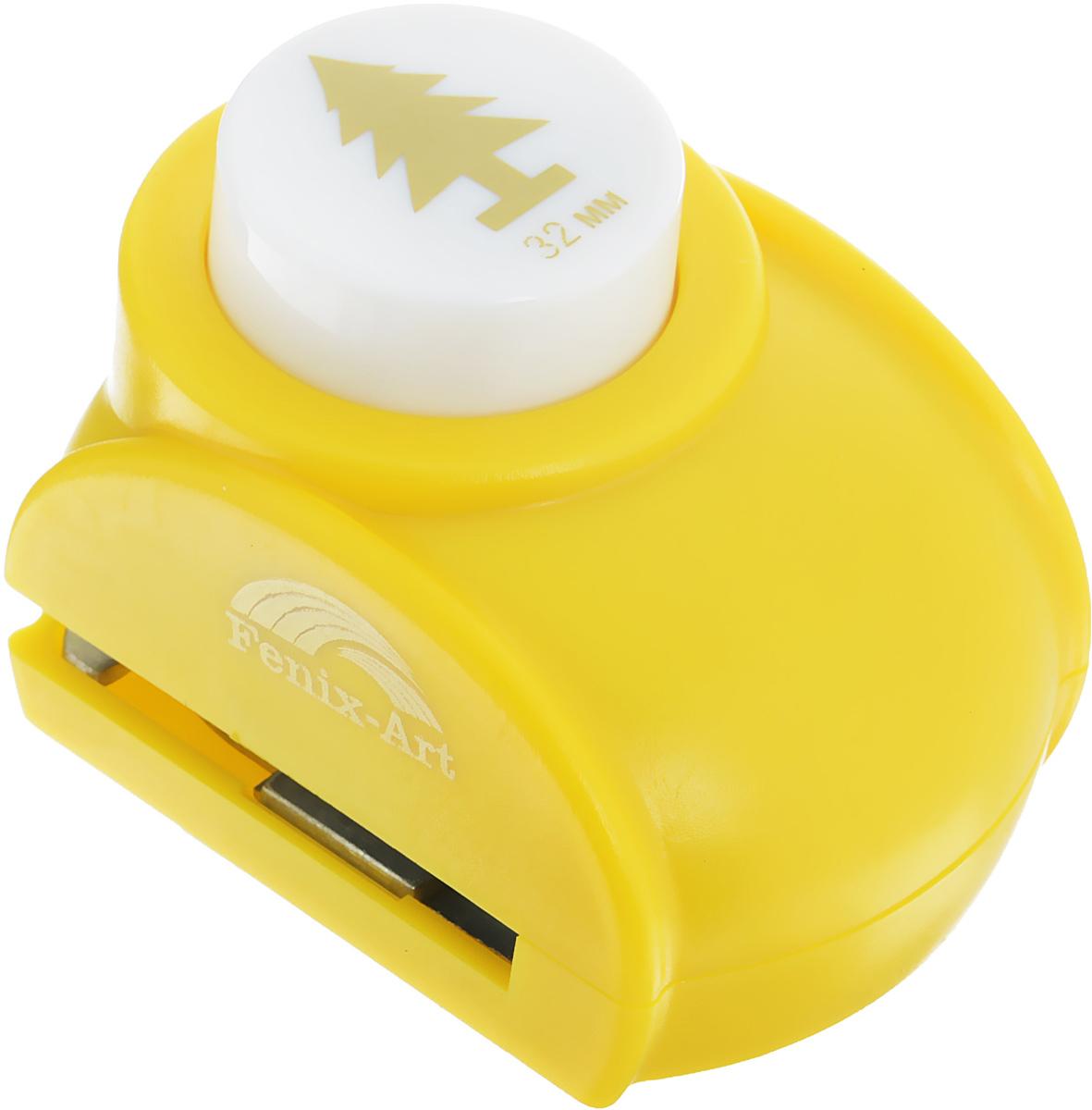 Дырокол фигурный Феникс+ Елочка, цвет: желтый. 3720337203Дырокол фигурный Феникс+ Елочка поможет вам легко, просто и аккуратно вырезать много одинаковых мелких фигурок. Режущие части компостера закрыты пластмассовым корпусом, что обеспечивает безопасность для детей. Можно использовать вырезанные мотивы как конфетти или для наклеивания. Дырокол подходит для разных техник: декупажа, скрапбукинга, декорирования. Размер дырокола: 7,8 см х 4,4 см х 5,4 см. Размер готовой фигурки: 3,2 см.
