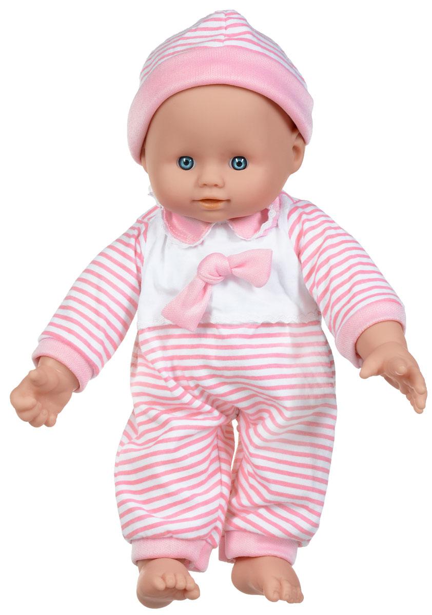 Simba Пупс озвученный Cutie Doll Laura цвет розовый белый5140245_розовыйПупс Simba Cutie Doll Laura непременно приведет в восторг вашу дочурку. Голова, ручки и ножки пупса выполнены из прочного пластика, а тело - мягконабивное. Очаровательная малышка одета в удобный комбинезон, оформленный принтом в полоску, а на голове у нее - чепчик. При нажатии на животик, игрушка воспроизводит реалистичные звуковые эффекты. Всего пупс воспроизводит 10 разных звуков. Трогательный пупс принесет радость и подарит своей обладательнице мгновения нежных объятий. Игры с куклами способствуют эмоциональному развитию, помогают формировать воображение и художественный вкус, а также разовьют в вашей малышке чувство ответственности и заботы. Великолепное качество исполнения делают эту куколку чудесным подарком к любому празднику. Для работы игрушки необходимы 3 батарейки типа AG13 (не входят в комплект).