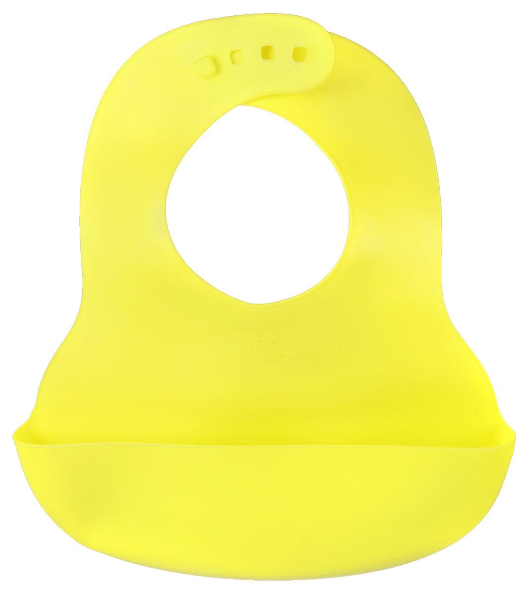 Happy Baby Нагрудник пластиковый цвет неоновый желтый